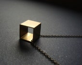 Cube Necklace, Brass Cube Necklace, Geometric Necklace, Square Necklace, Cube, Cubes, Minimalist Necklace, Dainty Choker Christmas Gift 2016