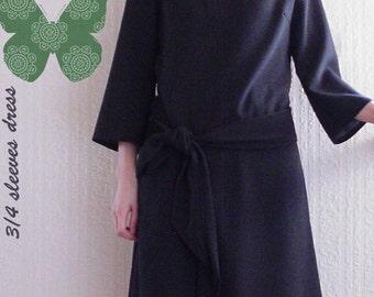 PDF sewing patterns-Women-3/4 Sleeves Dress-Size:XS/S/M (3SW-W-D)