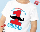 Mustache Birthday Shirt or Bodysuit (Blue/Red) - Personalized Birthday Shirt with child's age and name