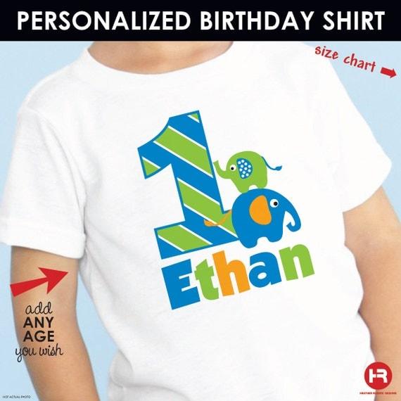 Elephant Birthday Shirt Personalized (Boys) - Made for ANY AGE - Monogram Elephant Birthday Outfit - Zoo Birthday shirt - Jungle Birthday