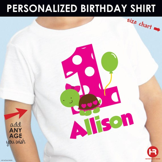 Turtle Birthday Shirt Personalized (Girls) -- Customized with Child's Name & Age