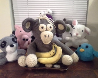 Amigurumi Monkey Crocheted Monkey Crocheted Toy. Stuffie. Stuffed Toy. Toy monkey. Stuffed Monkey.