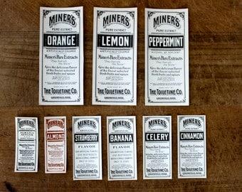 Vintage labels - Set of 9