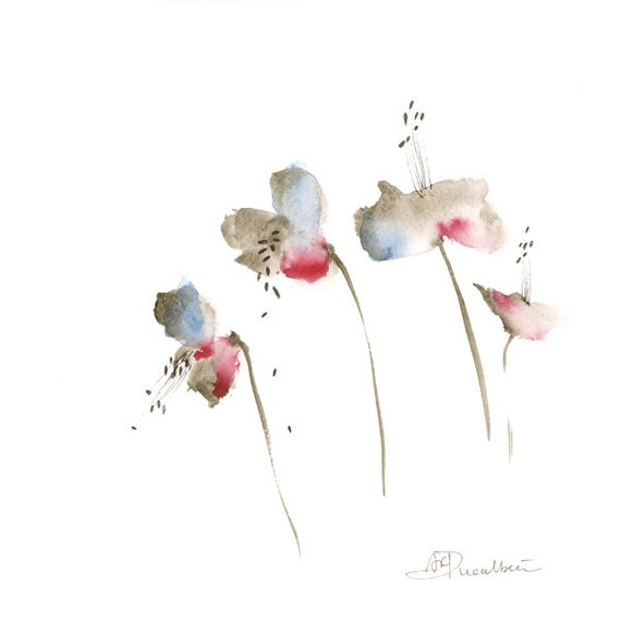 Sale abstract flowers watercolor painting original art blue for Abstract watercolour flowers