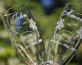 Engraved Wedding Glasses, Palm Trees, Sunset, Destination Tropical Wedding