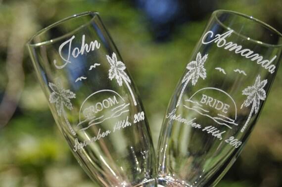Engraved Wedding Glasses, Palm Trees, Sunset, Destination Tropical Wedding