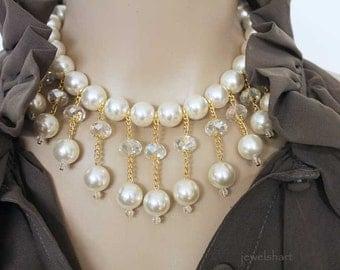 Chunky Bold Statement Necklace, Pearl Bib Choker, Beaded Statement Jewelry