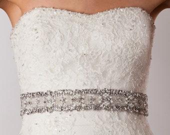 Crystal rhinestone and pearl cluster sash