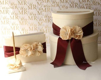 Wedding Card Box Money Box Gift Card Holder Guestbook set - Choose your own color