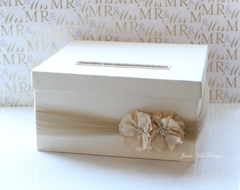 Wedding Card Money Box Gift Card Holder- (Choose your own box & flower colors)