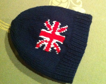 Union Jack beanie, Made to Order, Handknitted, Best of British, Made in London, Souvenir, Commemorative, Memorabilia, Baby beanie, Adult hat