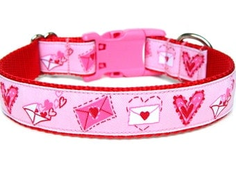 Valentines Dog Collar Hearts and Love Letters matching flowers available