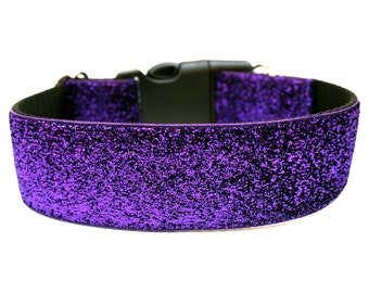 "Purple Dog Collar 1.5"" Glitter Dog Collar"