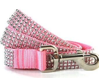 "Pink Dog Leash 1"" wide Rhinestone Dog Leash"