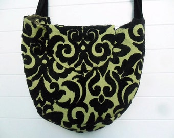Gothic Bohemian Bag Purse Chartreuse Black Cut Velvet