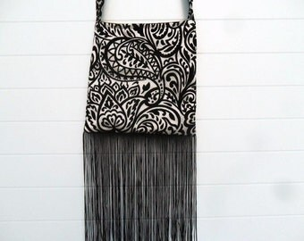 Gothic Bohemian Bag Purse Black and White Cut Velvet with Fringe