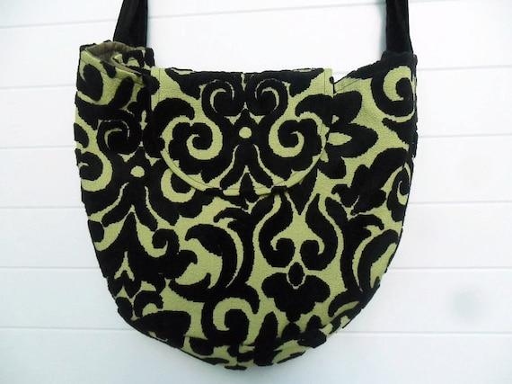 Gothic Bohemian Bag Purse Chartreuse Black Cut Velvet