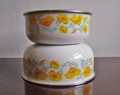 vintage pair of yellow-poppied enamel mixing / serving bowls by Kobe Kitchen