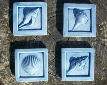 Sea Shell 2x2 Accent Tiles -- set of 4 in Country Blue Glaze -- Handmade Ceramic Tile