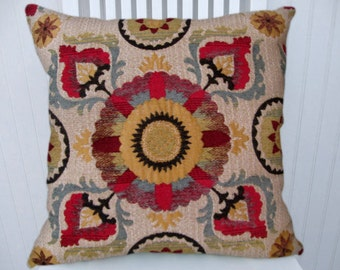 Red Gold Suzani Pillow Cover Decorative Pillow-18x18 or 20x20 or 22x22- Yellow Black Sand Throw Pillows