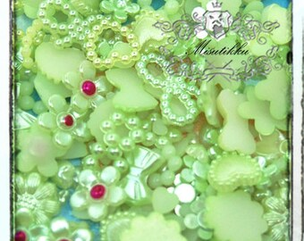 120 PCS X Mix Assorted Green Small Size Tiny Pearlized Pearly Mini Heart Pearl Flower Rings Bow Ribbon Cabochon Resin Flat back (GK.ZNM12)