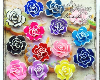 6/12/20 PCS Polymer Clay Flowers Cabochon Mixed Color Flower Assorted Rose Cabochon Mix Flat Back Decora Craft Supply FL06M