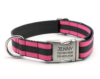 Layered Stripe Laser Engraved Personalized Dog Collar - Hot Pink/Black