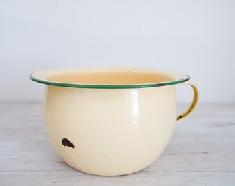vintage cream and green enamel pot