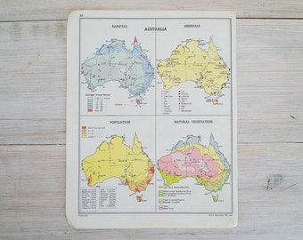 vintage map of australia, inland exploration and rainfall, population and natural vegetation