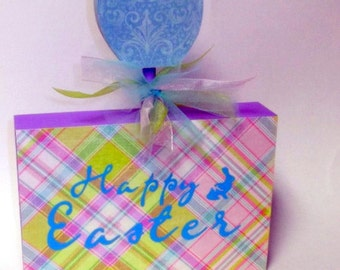 FREE SHIPPING!  Happy Easter Decoration - Wood block with egg decoration - purple blue pink green plaid
