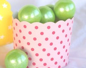 Pink with Red Dot-Large--Nut/Candy/Baking Cups--25ct-Parties--cupcakes-gumballs-snacks