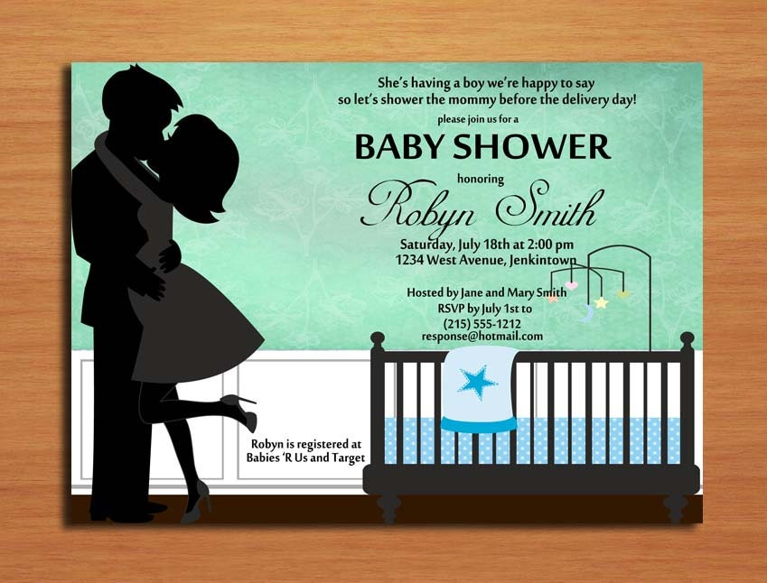 kissing couple baby boy baby shower invitation cards