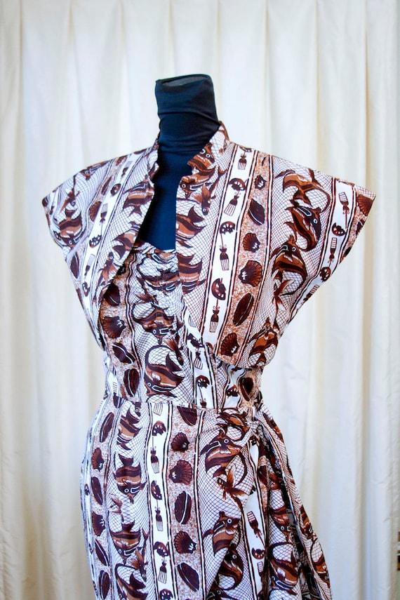 1950's Hawaiian Sarong Fish and Shell Print Dress with Bolero by Surfriders Sportswear