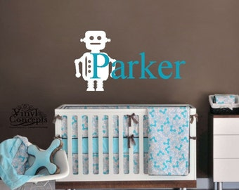 Personalized Name with Robot - Vinyl Wall Art