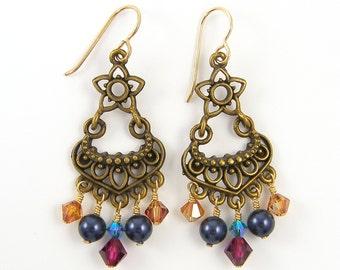 Chandelier Earrings - Crystal Pearl Boho Bead Dangle Jewelry |AB3-7