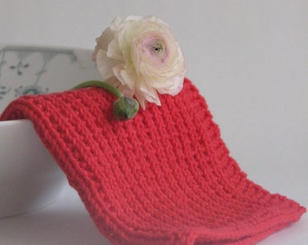 Hand knitted dish cloth - wash cloth - soft cotton red fire engine