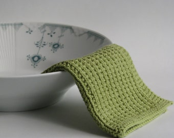 Hand knitted dish cloth - wash cloth - soft cotton light pea green
