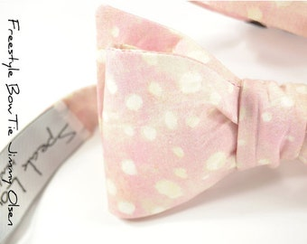self-tie Wedding Mens Bow Tie Jimmy Olsen - Blush Pink with ivory dots