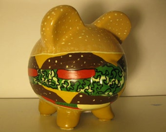 Personalized, Handpainted, Ham-burger Piggy Bank -   MADE TO ORDER