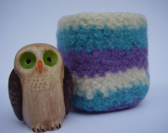 wee felted wool bowl turquoise, violet & cream striped square container ring holder desktop storage