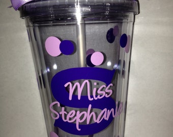 Personalized Teacher Tumbler with Lid and Straw
