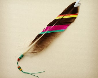 Painted Totem Feather Print // 6x6 // bird, nature, wildlife, spiritual, symbols, tribal, painted