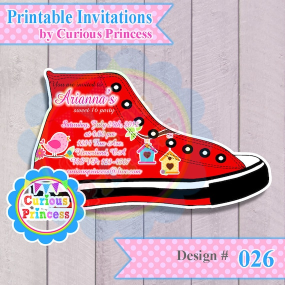 Items similar to 026 converse shoe shaped invitations CUSTOM made digital PRINTABLE file ...
