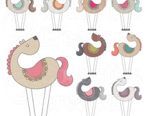 Get on your High Horse Digital Clipart Set - Personal and Commercial Use