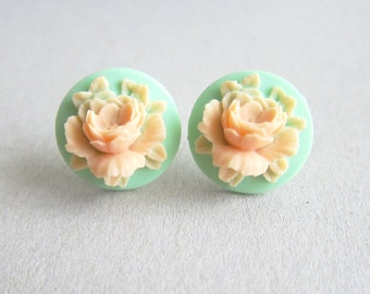 Mint Green Earrings Stud Peach Orange Rose Floral Flower Spring Garden Wedding Bridal Bridesmaids Gift