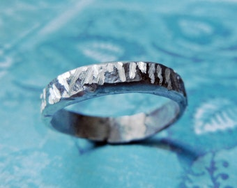 Etched Mens Wedding Ring, Simple Silver, Rough Texture Band, Reflective Light on Silver. Rustic and Masculine.