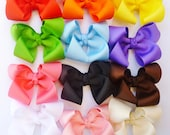 """12 hair bows--fits baby toddler girls--rainbow bright colors--2.5"""" hair bows--baby shower gift birthday gift party favors"""