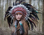 Costume feather headdress, tribal headpiece, statement feathered headband,