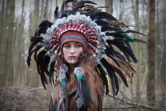 Costume Feather Headdress Tribal Headpiece Statement-8243