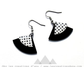 polka dot earrings rockabilly earrings black earrings black and white earrings record earrings eco-friendly jewelry gift idea for her